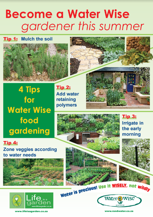 Poster water wise summer gardening tips 1 life is a garden - Summer time gardening tips ...