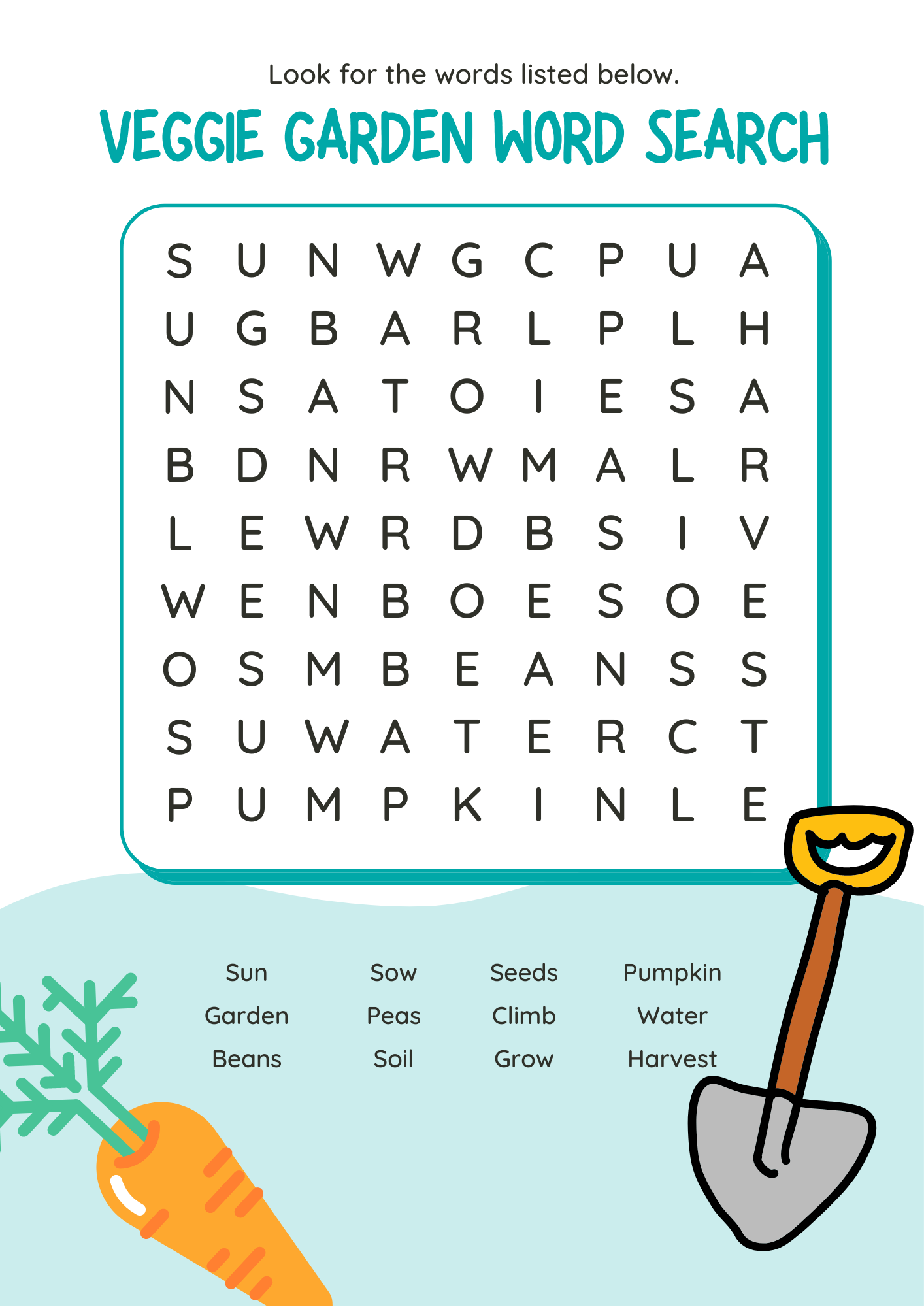 Veggie garden word search