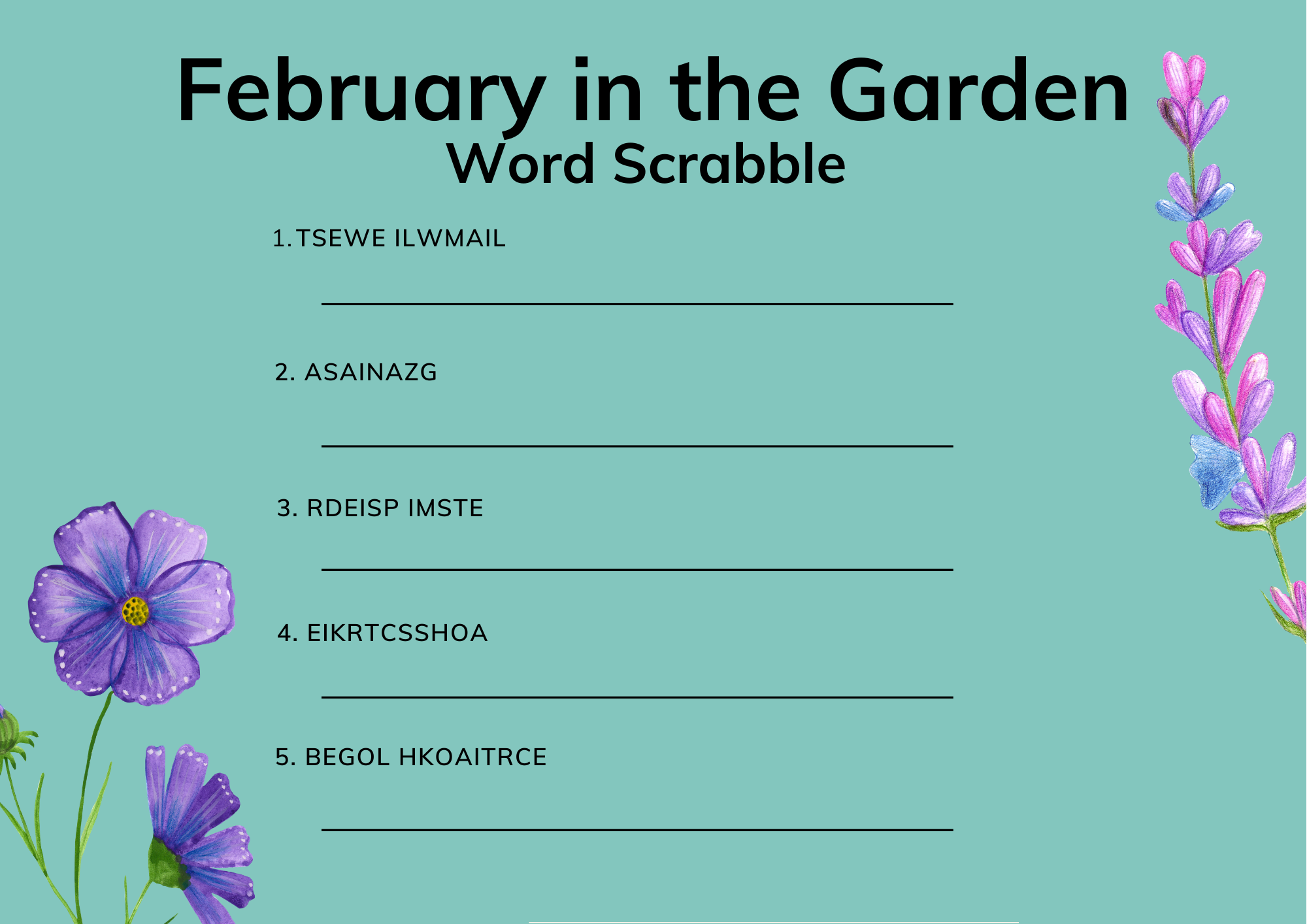 February in the garden word scrabble